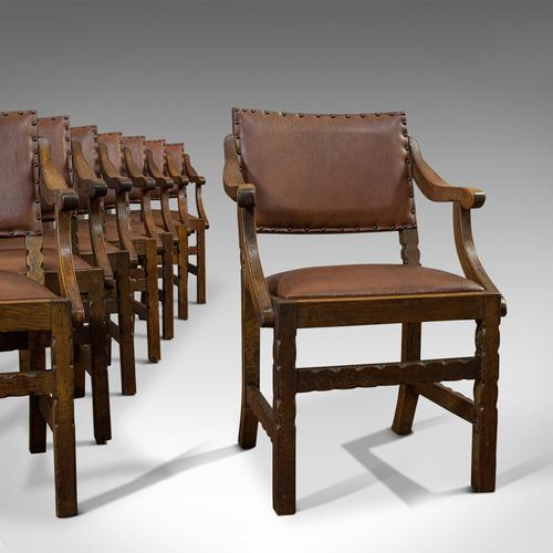 Set of 8, Antique Dining Chairs, Oak, Seat, Arts & Crafts, Hamptons, Edwardian (1 of 11)