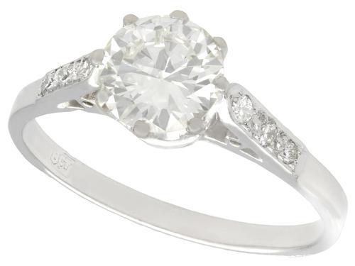 1.12ct Diamond & 18ct White Gold Solitaire Ring - Antique c.1920 (1 of 9)