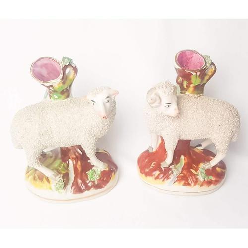 Pair of Staffordshire Flatback Sheep (1 of 6)