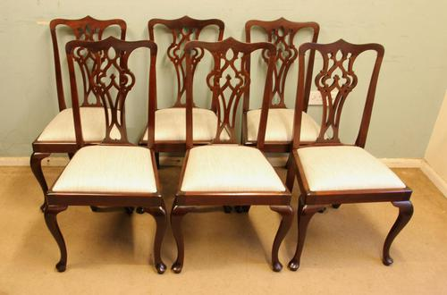 Antique Set of Six Mahogany Chippendale Style Dining Chairs (1 of 8)