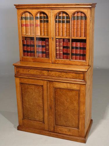 Beautifully Made Late 19th Century Oak & Burr Oak Small Bookcase Cabinet (1 of 4)