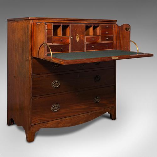 Antique Secretaire Cabinet, English, Chest of Drawers, Bureau, Desk, Georgian (1 of 12)