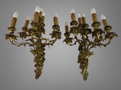 Pair of Stunning Huge 7 Arm French Rococo Style Gilt Bronze Wall Lights Sconces (1 of 9)