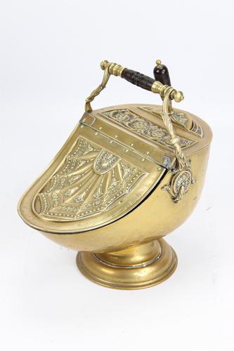 Victorian Brass Helmet Coal Scuttle (1 of 13)