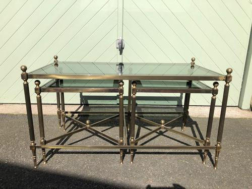 Quality Nest of 3 Brass Tables (1 of 8)