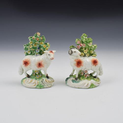Pair of Derby Porcelain Bocage Figures of Sheep, Ram & Ewe c.1770 (1 of 10)