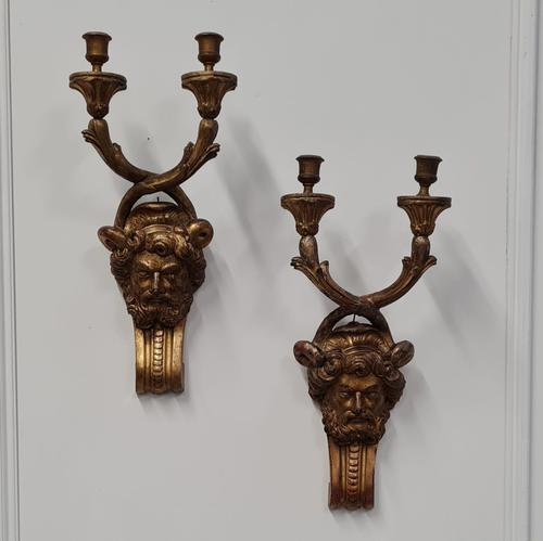 Beautiful Wooden Gilded Wall Lights c.1850 (1 of 4)