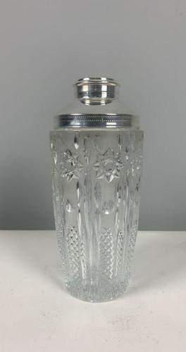 Silver Plate Art Deco Glass Cocktail Shaker; 1930's (1 of 6)