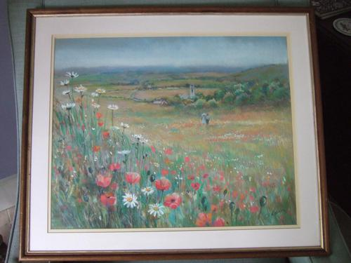 Catherine Raban:  Pastel Drawing of a Poppy Field (1 of 4)
