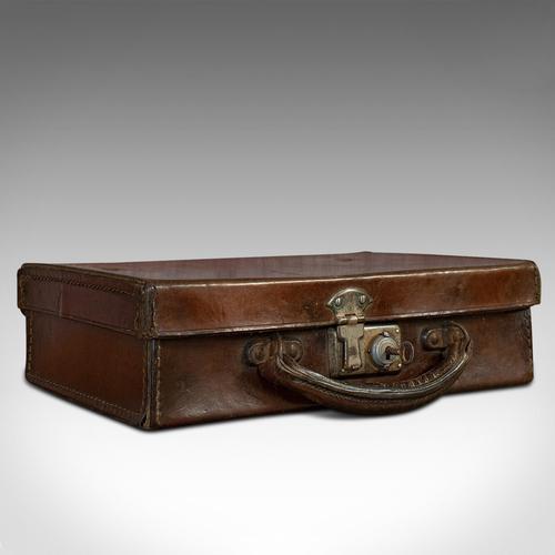 Antique Suitcase, English, Leather, Travelling Sample Case, Edwardian c.1910 (1 of 10)