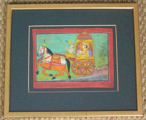 Charming 18th Century Indian Watercolour Prince in Carriage (1 of 5)