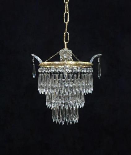 Italian Art Deco Three Tier Crystal Glass Chandelier (1 of 6)