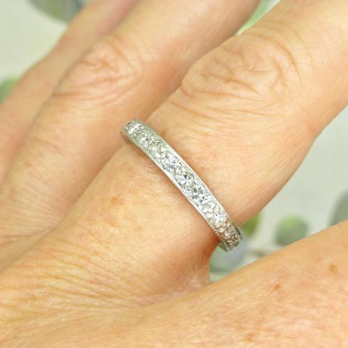1920s Art Deco platinum diamond wedding band ~ full eternity ring 0.69ct ~ Size P 1/2 / 7.75 (1 of 9)
