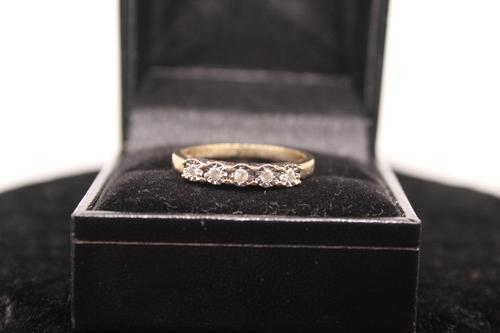 9ct Gold & Diamond Ring, size R, weighing 2.4g (1 of 7)