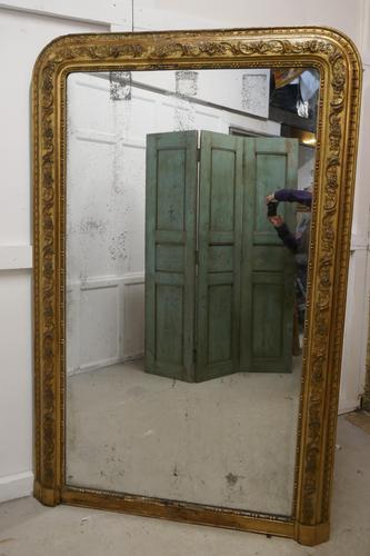 Very Large French 19th Century Louis Philippe Gold Mirror (1 of 12)
