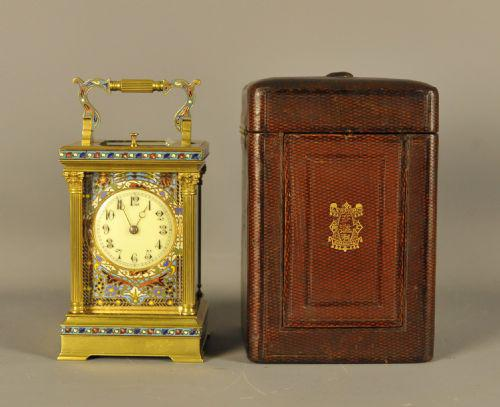 Champleve Repeating Carriage Clock - With original case (1 of 6)