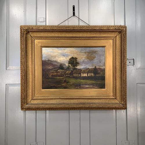 Antique large Scottish landscape oil painting of cottages in Trossachs signed Walter W Banner 1880 (1 of 11)