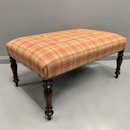 Newly Upholstered & Buttoned Centre Footstool (1 of 5)