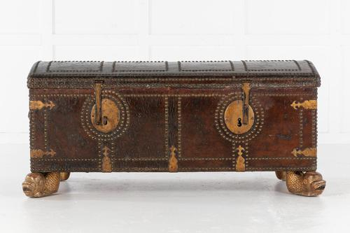 18th Century Leather Bound Spanish Trunk (1 of 9)