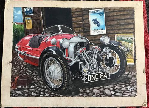 Signed Painting of a Morgan Three Wheeler Circa 1960's (1 of 3)