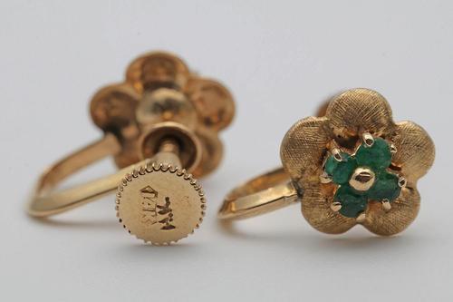 Edwardian Gold Emerald Earrings (1 of 2)