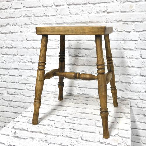 19th Century Kitchen Stool with Sycamore Seat (1 of 5)