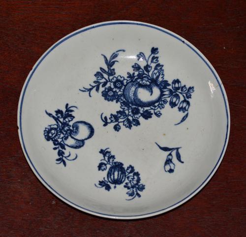 c1770- 78 Liverpool Porcelain Philip Christian Saucer Fruit Sprigs Saucer (1 of 7)