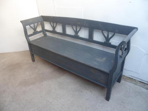 A Battleship Grey 3 Seater Antique/Old Pine Kitchen/Hall Box Settle/ Bench (1 of 9)