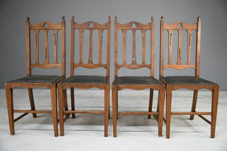 Arts & Crafts Oak Dining Chairs (1 of 12)