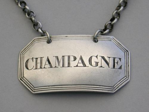 George IV Silver Wine Label 'Champagne' by John Reily, London, 1825 (1 of 7)
