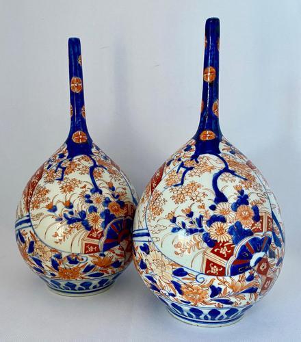 Pair of Imari Bottle Vases c.1900 (1 of 6)