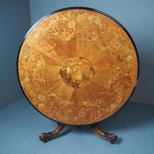 Large Victorian Marquetry Circular Breakfast Table (1 of 9)