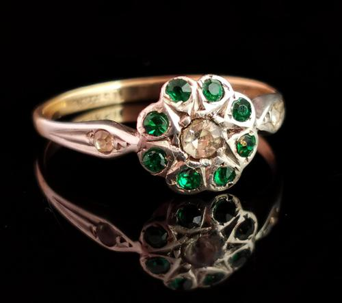 Vintage Art Deco Flower Ring, 9ct Gold & Silver, Emerald Paste (1 of 11)