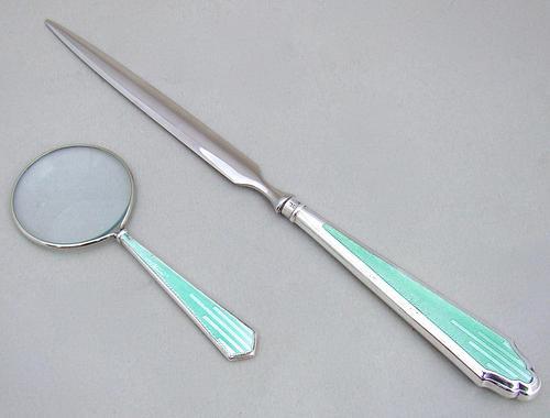 Silver & Guilloche Enamel Small Desk Magnifying Glass & Letter Opener by Hasset & Harper Ltd, Birmingham 1934 (1 of 6)