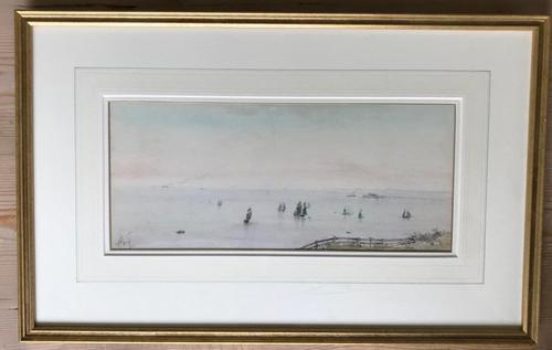 'Shipping off Brighton' Watercolour by Albert Markes c.1890 (1 of 3)
