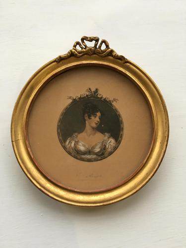 Miniature Georgian Giltwood Print of a Lady (1 of 3)