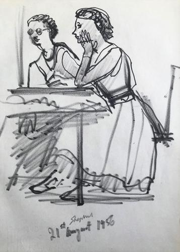 Original Marker Pen  Drawing 'Figures in a Cafe, Perugia August 1956' by Toby Horne Shepherd - Signed (1 of 1)
