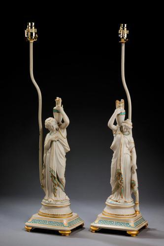 Pair of Parian Neoclassical Lamps (1 of 6)