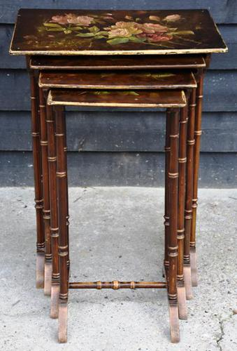 Beautiful Victorian Hand Painted Quartetto of Tables / Nest of Tables c.1900 (1 of 8)