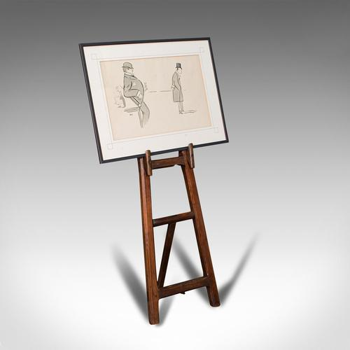 Antique Artist's Easel, English, Picture Stand, Arts & Crafts, Victorian c.1900 (1 of 12)