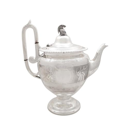 Antique Victorian Sterling Silver Teapot with Scenes 1871 (1 of 14)