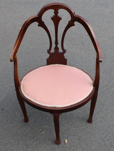1920's Mahogany Side Chair in Pink (1 of 3)