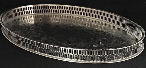 Vintage Chased Silver Plated Oval Gallery Tray (1 of 4)