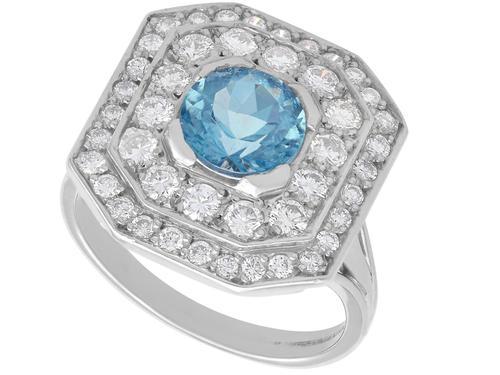 2.11ct Aquamarine & 2.22ct Diamond, 18ct White Gold Dress Ring - Vintage c.1950 (1 of 9)