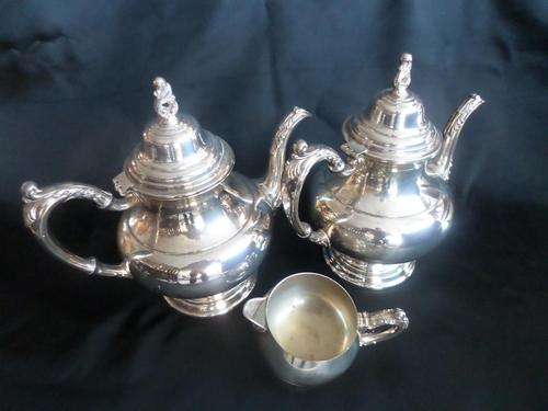 Two 'ONEIDA' Silver Plated Coffee Pots with Cream Jug (1 of 6)