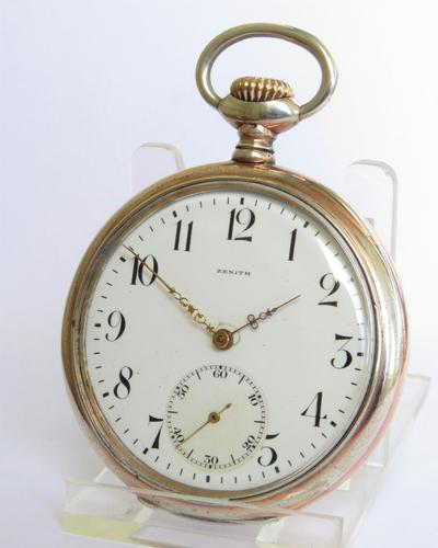 Antique silver Zenith pocket watch, 1919 (1 of 4)