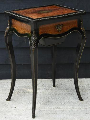 Fine Quality 19th Century French Ebonised & Amboyna Serpentine Sewing Table (1 of 22)