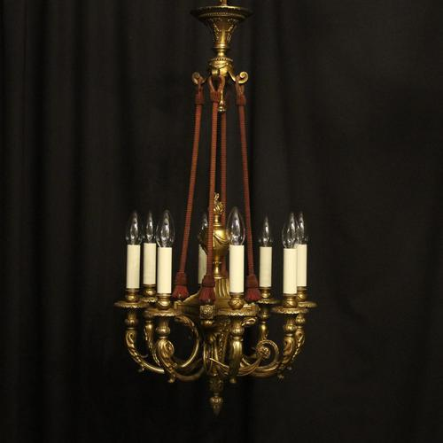 French 19th Century Gilded Bronze 8 Light Antique Chandelier (1 of 10)