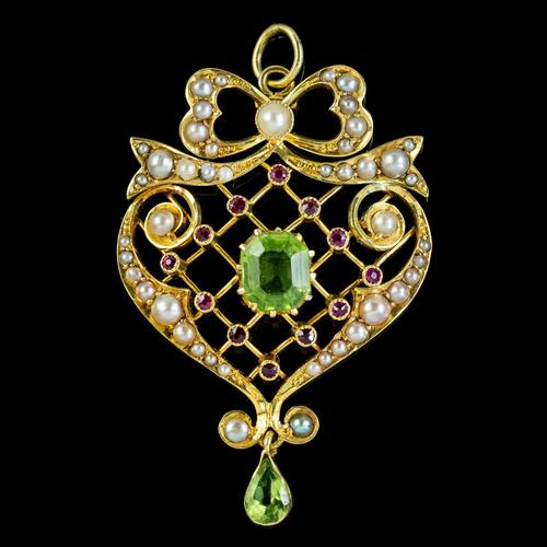 Antique Edwardian Suffragette Pendant Peridot Pearl Ruby 15ct Gold c. 1910 (1 of 6)