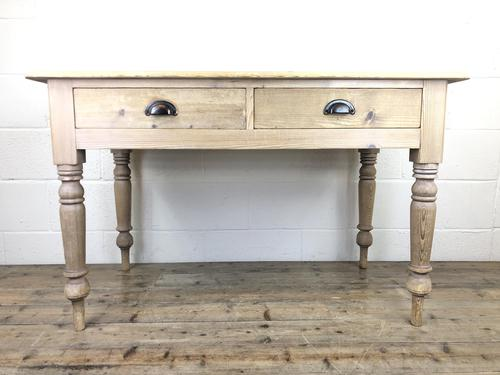 Antique Pine Two Drawer Farmhouse Kitchen Table (M-1340) (1 of 9)